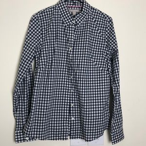 Banana Republic gingham navy fitted button down